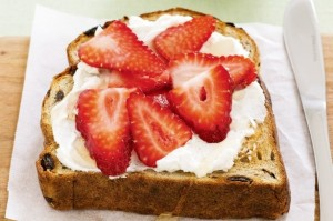 Ricotta and strawberry toast