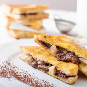 Pan-fried banana and nutella toast recipe